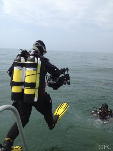 Diver entering the water at Kingmere